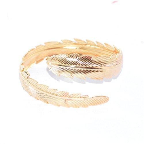 Tinksky 2 Stück Swirl Oberarm Armband Armreif Manschette Armreif Armband Einstellbare Blattfeder Armreif (Gold Silber)