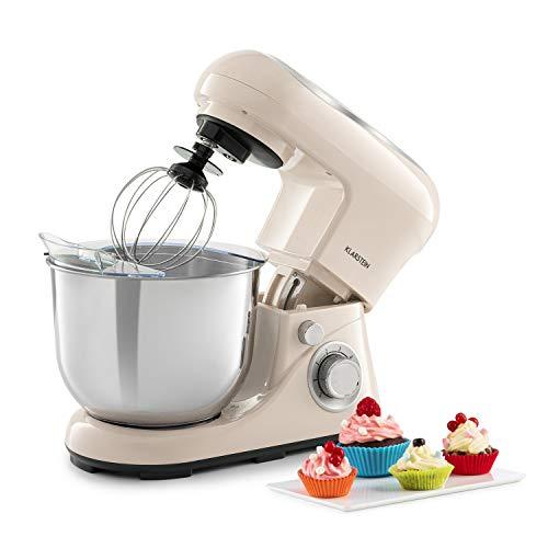 KLARSTEIN Bella Pico 2G Robot de cuisine - 1200 W 1,6 PS en 6 niveaux de puissance avec fonction Pulse, système de mélange planétaire, bol en acier inoxydable de 5l, 3 pcs - crème