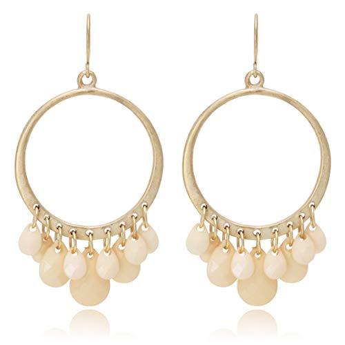 Boho Multi Beads Tassel with Circle Hoop Dangle Drop Earrings for Women