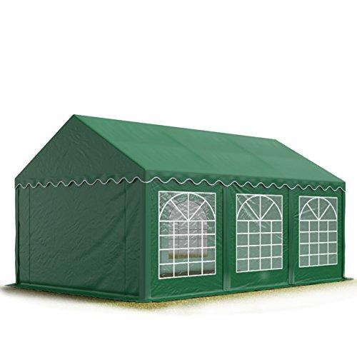 TOOLPORT Tendone per Feste 4x6 m PVC Verde Scuro 100% Impermeabile Gazebo da Giardino Tendone da Esterno Tenda Party