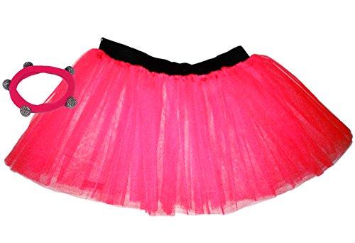 A-Express Tütü Rock Neon Tutu Netz Tüllrock 3 Lagen Petticoat für verrücktes Kleid Party Kostüm, Hot Pink, 46 (Herstellergröße: 10 - 18)