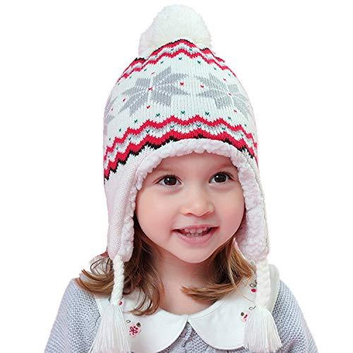 berretto 2 pon pon Snyemio Cappello Invernale a Maglia Bimba Bambina Ragazza Paraorecchie Infantile Knit PON PON Berretto (Bianco