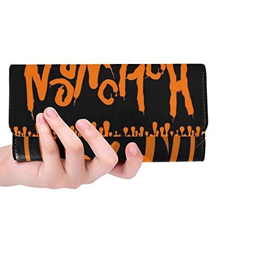 Einzigartige Halloween-Party-Plakat-Schablonen-Kürbis-Frauen-dreifachgefaltete Mappen-Lange Geldbeutel-Kreditkarte-Halter-Fall-Handtasche