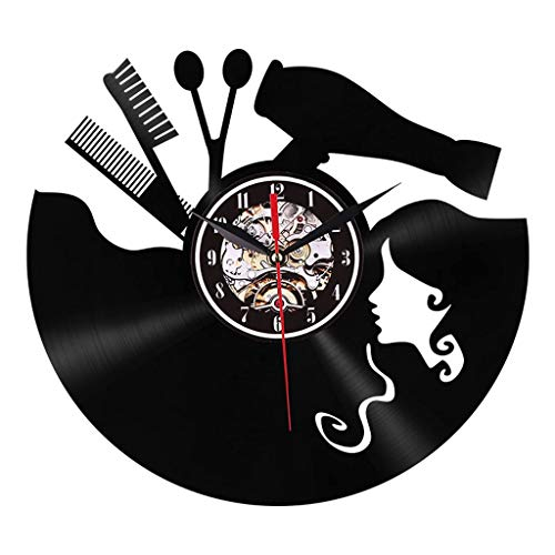 BFMBCHDJ Barber Vinyl Record 3D Reloj de Pared Diseño Moderno Reloj de Pared Barbería Peluquería Decoración de Pared para salón de Belleza Dial Vision con LED 12 Pulgadas