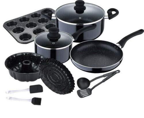 Renberg Queens Batería de Cocina, Aluminio, Negro, 24 cm