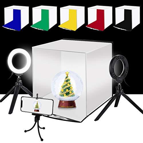 PULUZ 30cm 撮影ボックス+4.6インチLEDリングライト*2 撮影キット 折畳みソフトボックス 6色背景色(赤/緑/黄色/青/白/黒)リングライト付きの写真撮影ブース 簡易スタイジオ 折り畳み式&携帯型&組立簡単&収納便利 サイズ:30 cm x