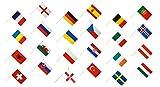 Flaggenfritze–Bandera de Stockflaggen Juego EM 2016–30x 45cm, todas las naciones 24+ Gratis Pegatinas