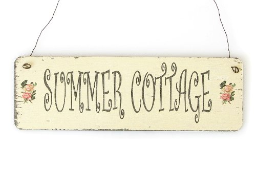 Interluxe Shabby Vintage Schild Türschild Summer Cottage Holzschild Dekoschild Sommer Chic