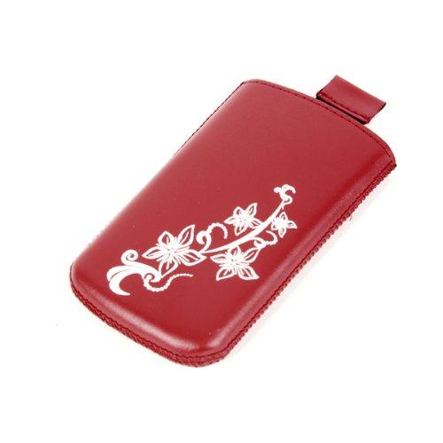 Valenta Etui offen - rot - mit Ausziehlasche & trendigem Blumenprint für Motorola RAZR V3i