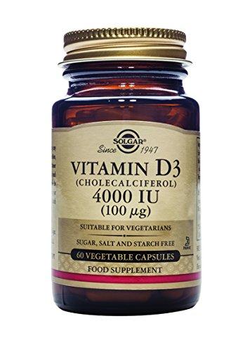 Solgar® Vitamina D3 4.000 UI (100 µg) para el mantenimiento de huesos y sistema inmune - 60 cápsulas vegetales
