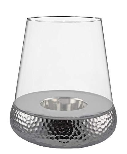 Kaheku Bilbao Windlicht Golf Silber, Durchmesser 20 cm Keramik Klarglas 99990234