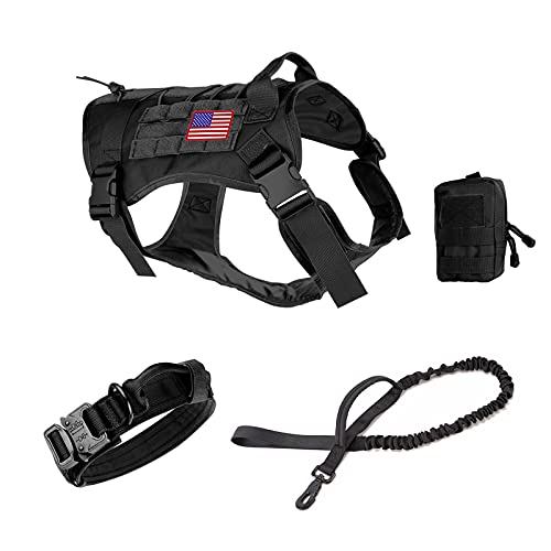 Pruk Tactical Dog Harness Set, K9 Dog Harness Military Dog Vest Collar Leash with Molle Pouch and Patch, No Pull Tactical Dog Vest for Large Dog, Service Dog Harness for Training Hiking(Black, XL)