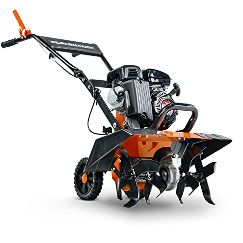 SuperHandy Tiller Cultivator 2.5HP 79cc 4 Stroke Ultra Duty 4 Premium Steel Adjustable Forward Rotating Tines for Garden, Lawn, Digging, Root/Weed Removal and Soil Cultivation