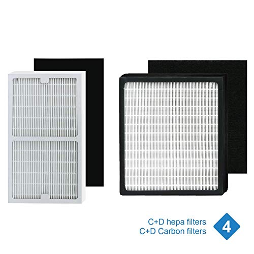 Replacement idylis Hepa Filters C and D (with Carbon Filters), Compatible with idylis air Purifier Models Idylis IAP-10-280