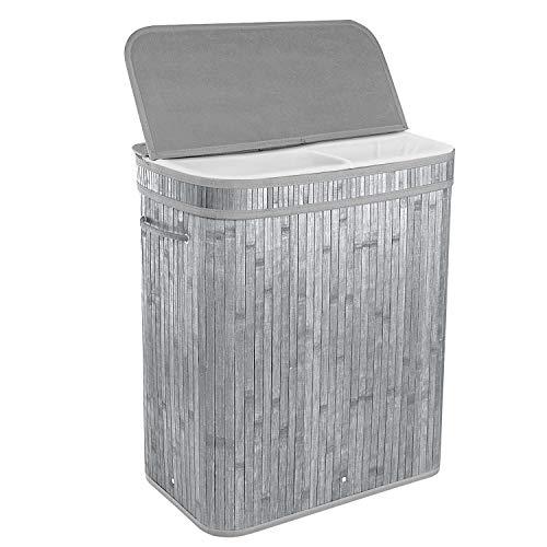 BRIAN & DANY 100L Bambus-Wäschekorb Faltbar Wäschebox mit 2 Fächern, Herausnehmbaren Wäschesack Tragegriff, Grau
