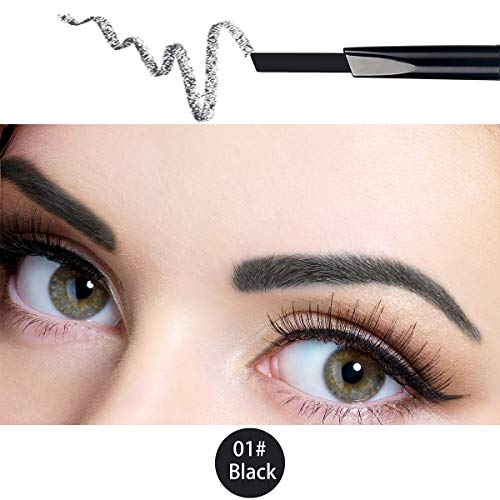 ANIFER Wenkbrauwpotlood Zwart Waterdicht Automatisch Intrekbaar Langdurige Double-Ended Makeup (Black # 1)
