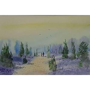 """Spaziergang in der Heide"" / Aquarellbild / 30 x 40 cm (Bild 20 x 30 cm)"