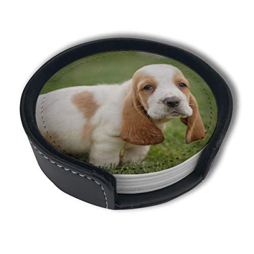 LKJDAD Basset Hound Coasters, (6PCS) Premium PU Leather Coasters, Drink Round Coasters with Holder Sets, Protect Your Furniture from Stains, Water Marks, Scratch£¬Suitable for Home and Kitchen¡£