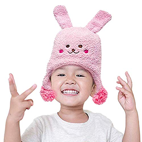 Winter Hat and Socks Set for Toddlers - Stretchable Funny Bunny Winter Hat and Socks - Unisex Toddler Beanies for Boys and Girls by Flipside Pillow - Pink