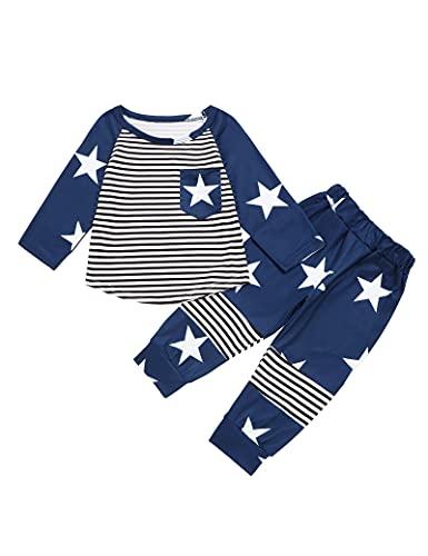Recién nacido bebé niño ropa ropa ropa ropa de rayas manga larga camiseta tops estrellas patrón peto sombrero set 3pcs, azul oscuro, 12-18 Meses