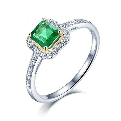 Beydodo Anillos Mujer Compromiso,Anillo Mujer Oro Blanco 18K Plata Verde Rectángulo Esmeralda Verde 0.8ct Diamante 0.2ct Talla 16(Circuferencia 56MM)