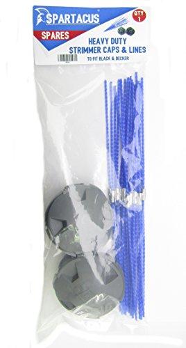 Spartacus HDL Strimmer Cover Cap x 2 & Pack of 20 Lines Fits Black & Decker GL687 GL690