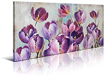 Wall Decorations for Living Room Tulip Canvas Art Wall Decor for Bedroom Large Wall Art Modern Home Decor Framed Wall Art Pink Purple Flowers Art Prints Pictures Artwork for Home Decoration 30x60