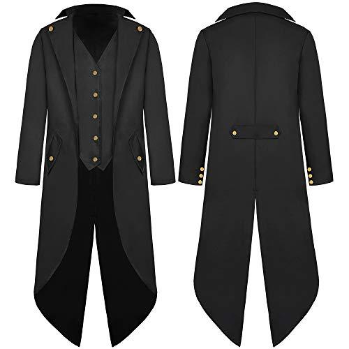 Herren Gothic Steampunk Frack Mittelalter Viktorianischen Vintage Jacke mit Waistcoat Gehrock Uniform Karneval Fasching Halloween Cosplay Kostüm
