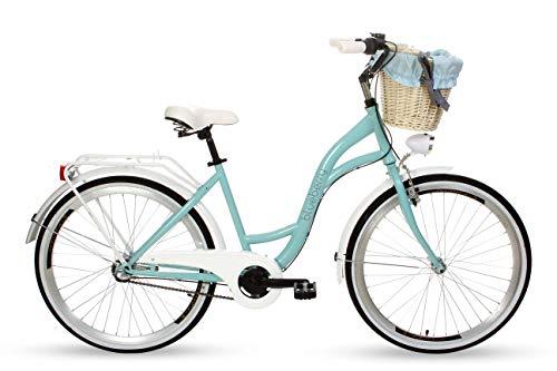 Goetze Blueberry - Bicicleta de ciudad vintage para mujer, estilo holandés, 3 velocidades, Shimano Nexus, freno de contrapedal, ruedas de aluminio de 26 pulgadas, cesta con acolchado