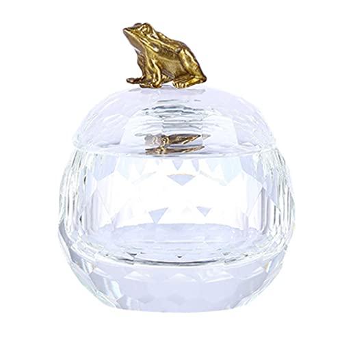 Joyero Caja De Joyería De Cristal De Cristal con Latón Animal Tapa Tinket Organizing Pendientes Anillos Caja De Jar Treasure Box Regalo de joyería (Color : Frog)