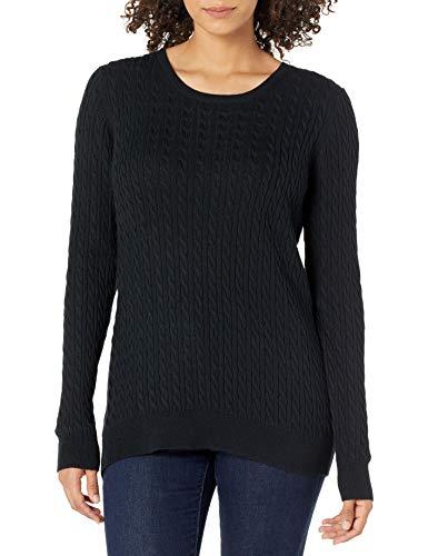 Amazon Essentials Damen Lightweight Cable Crewneck Sweater, Schwarz, Large