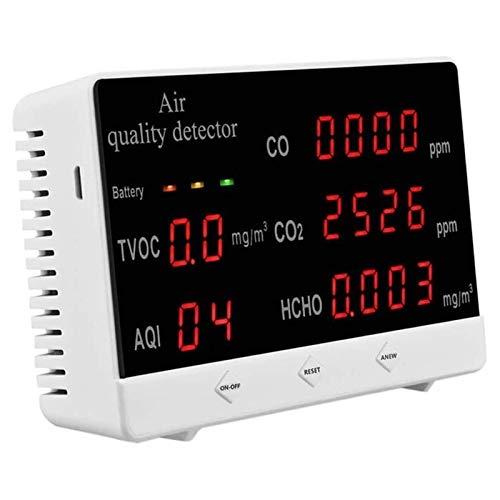 LILIS Carbon Monoxide Meter Formaldehyd-Luftqualitätsmonitor, Echtzeit-Multifunktionsluftdetektor, Datensatz HCHO/TVOC/AQI/CO / CO2-Daten für Verschiedene Anlässe