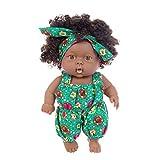 Poupée Noire Bébé Bébé Fille Poupée Noire Africaine Lifelike Simulation Jouet À La Figure Bleu Vert Salopette Pour Enfants Cadeaux Fêtes