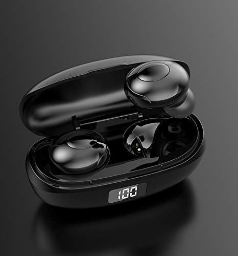 TORENG Auriculares inalámbricos Bluetooth Bt5.0 LED pantalla digital Ipx6 resistente al agua, compatible con dispositivos iOS y Android y otros dispositivos Bluetooth (color: negro)