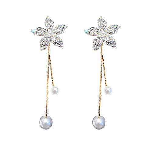 CHENYUXIA Silver Needle Flower Diamond Long Pearl Borla Pendientes Temperamento All Match Pendientes Personalizados Pendientes