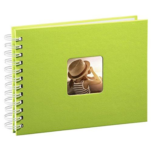 Hama Fotoalbum 24x17 cm (Spiral-Album mit 50 weißen Seiten, Fotobuch mit Pergamin-Trennblättern, Album zum Einkleben und Selbstgestalten) hellgrün