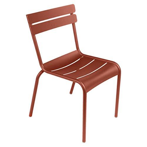 Fermob Luxembourg Stuhl aus Aluminium in der Fabe Ockerrot 88 x 49 x 57 cm, Sitzhöhe 49 cm