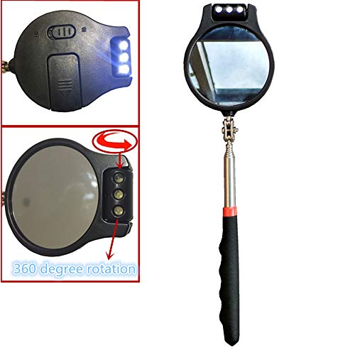 Telescopic inspection mirror, round lens can be rotated 360 degrees / 3 LED lights can also be rotated 360 degrees, freely adjust the direction of the LED lights, convenient and flexible viewing.