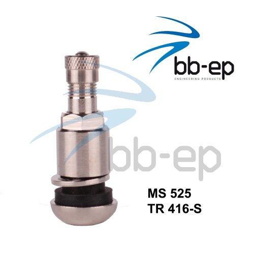 Metallventil/Stahlventil MS525 für 11,3 Felgenloch mit 11 SW inkl. PVC Unterlegscheibe - Beutel á 4 Stück