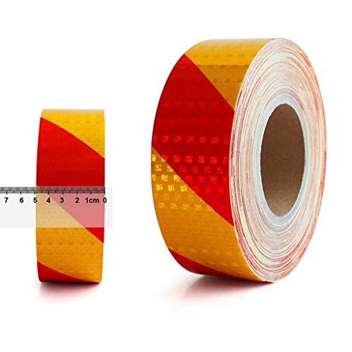 XLAHD Reflektierendes gelb und rot gestreiftes selbstklebendes Klebeband im Freien, Reflektor-Gefahrenbandaufkleber, für Anhänger-LKW-Fahrzeuge (5 cm * 20 m) Isolierband-Verpackungsband