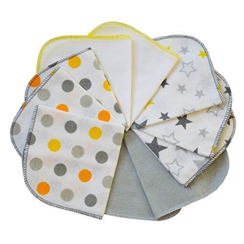 mimaDu Flanell Baby Waschlappen Flanelltücher Kinderservietten aus 100% OEKO-TEX zertifizierter Baumwolle - weich und flauschig - 10er Set - 25x25 cm (weiss grau gelb orange)