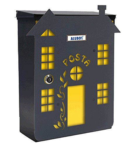 Alubox Haus 2Briefkasten Mia mit Tür, mehrfarbig