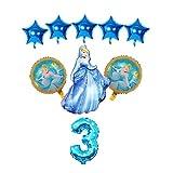 XINGYAO Globos 9pcs / Set niña Globos de lámina Elsa Sofía Princesa Globos Fiesta de cumpleaños Decoraciones para niños Juguetes Globo Hacer una Fiesta (Color : Blue-3)