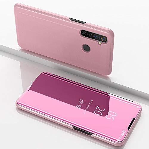 SHIEID Hülle Oppo Realme 5 Pro Schutzhülle Smart Spiegelüberzug Sleep Flip Leder Case Streamer Spiegel Schutzhülle Handyhülle für Oppo Realme 5 Pro(Rose Gold)