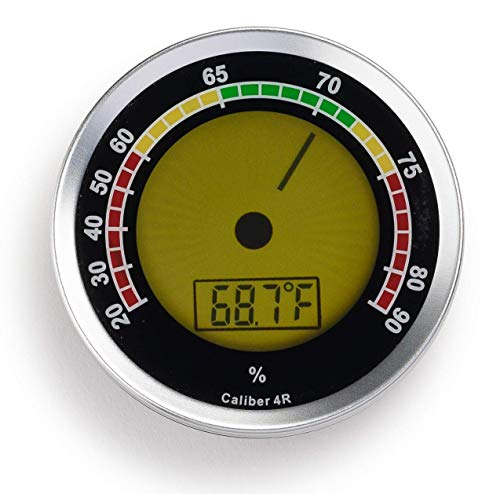 Cigar Oasis Caliber 4R Silver Digital/Analog Hygrometer by Western...