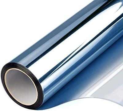 FILMGOO Window Film One Way Daytime Privacy Mirror Tint Treatments UV Heat Control Vinyl Stickers Sun Block Glass Paper Door Covering Reflective Static Cling (Blue Silver, 17.7 Inch x 7.8 Feet)