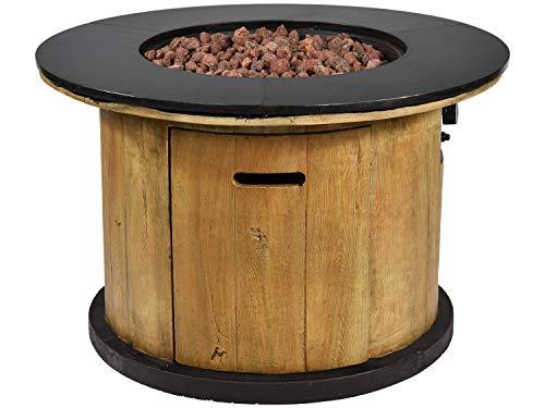 Traedgard Design Feuertisch Bologna in Holz Optik mit Wetterschutzhülle und Lavasteinen | gasbetriebene Feuerstelle für Garten, Balkon oder Terrasse