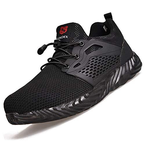 SUADEEX Sicherheitsschuhe Herren Damen Arbeitsschuhe S3 Leicht Sportlich Atmungsaktiv Schutzschuhe Stahlkappe Sneaker,a Schwarz,44 EU