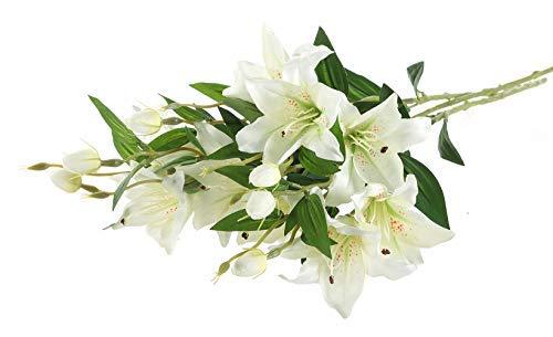 Gumolutin 3 Pcs Long Stem Artificial Lilies Flowers Fake Silk Full Bloom Lily for Home Table Centerpieces Arrangement Wedding DIY Decoration, White