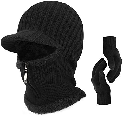 TAGVO Winter Unisex Knitted Balaclava Face Mask Cover with Touch Screen Gloves Thick Warm Fleece product image